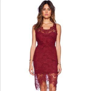 Free people peek-a-boo slip dress deep cranberry